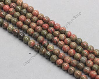 8mm Natural Unakite Beads Wholesale Loose Round Ball Bead With Well Ploished Gemstone Natural Stone MHA-179