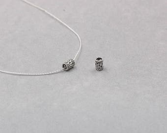2Pcs 4mm Sterling Silver Tube Beads -- 925 Silver Antique Tibetan Style Charms Wholesale For Bridesmaid Gift Party YX-Y631
