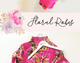 Floral Bride Robe - Floral Print Robes - Floral Bridesmaid Robe Set of You Choose Qty - Pink Floral Robes - Blue Floral Robes  (EB3152)