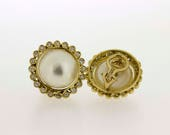 18K Mabe Pearl and Diamond Halo Earrings Omega  Clip Backs