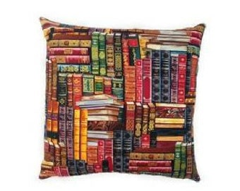 Book Print Invisible Zipper Pillow Cover-Porch-Couch-Library-Living Room-10 Sizes Available