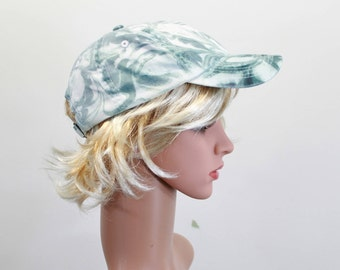 Gray marble baseball cap, Tie dyed baseball hat, Hikers hat, Adjustable baseball cap, Truckers cap