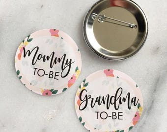 Baby Shower Pins Floral Mommy Aunt Grandma To Be Buttons Baby Shower - Gender Reveal