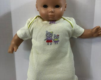 "15 inch Bitty Baby Clothes, Cute ""MOMMY & Baby Teddy BEAR"" Nightgown, 15 inch AG American Doll Bitty Baby, Fits 16 inch Cabbage Patch Doll"