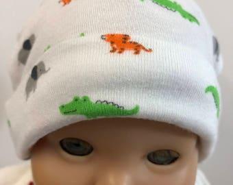 """15 inch Bitty Baby Doll Hat, Cute """"ZOO ANIMALS"""" - Boy or Girl Doll HAT, 15 inch Bitty Baby Clothes or Twin Doll, 15 inch Baby Doll Clothes"""