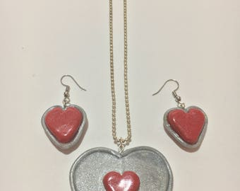 Zelda Heart Container Earrings and Piece of Heart Necklace