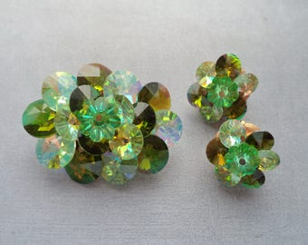 Vintage Green Rivoli Brooch Earrings Set Unsigned Gold Tone Setting Clip On