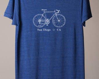 San Diego bike tee, San Diego t-shirt, San Diego California tee, California t-shirt, California cycling