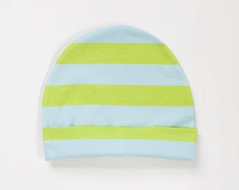 organic baby hat | sky + lime