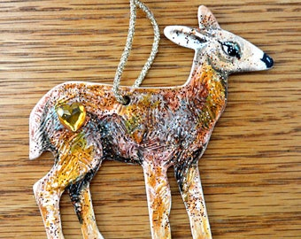 Christmas Reindeer Ornament - Hand Crafted and Painted