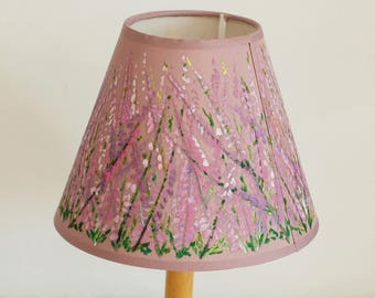 Hand-painted lamp shade with heather