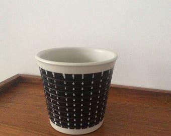 Mid Century PLANTER Vintage 1950's Black & White Burlington Denby Pottery Stoneware Ceramic plant pot