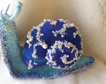 "Needle Felted- hand made . COLLECTIBLE TOYS. ""Blue Snail""."
