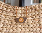 Leaf Hand Woven Wood Beaded Necklace - Mustard Yellow Gold Taupe - Fiber Art Boho Chic Textile Art