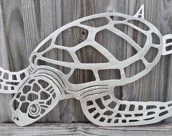 gifts for Mom, Loggerhead, sea turtle, metal art, gamefish, wall art, metal sculpture, beach house decor, fish art