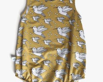 Baby Romper - Bubble Romper - Organic Baby Tank Onesie - Baby Girl Romper - Tank Romper- Organic Baby Clothing - Bird Print Baby Romper