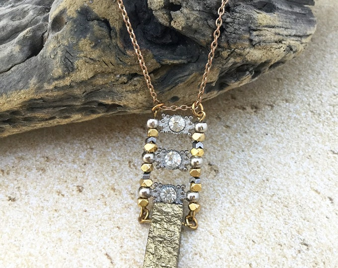 Handmade Boho Necklace, Festival, Coachella, Goddess, Gypsy, Gold & Silver, Gold Metallic Quartz, Sexy, Futuristic  (Forest Echo Necklace)