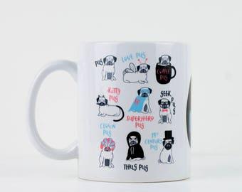 Pug Mug - Pug gift - Personalised Mug - Valentines Gift - Pug Lover - Funny Coffee Mug - Birthday Gift