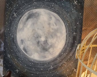 STUNNING Serene Moon Acrylic Canvas Painting Perfect for Child's Bedroom or Nursery