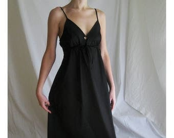 70s Black Maxi Slip Dress S M
