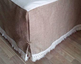 Burlap Bedskirt - Bed Skirt with Fringe - Rustic Bedskirt - Burlap Bedding - Bedskirt - Farmhouse Bedskirt - Burlap Valance - King Size