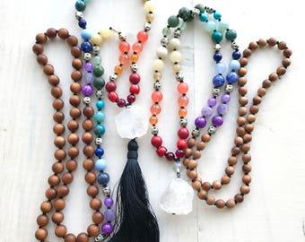 7 Chakra Mala Beads, Chakra Healing Mala Necklace, Yoga Meditation Beads, Yoga Healing Jewelry, Knotted 108