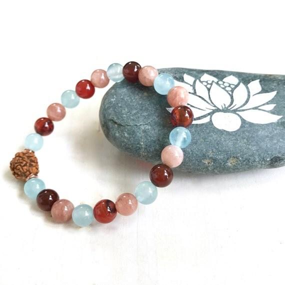 Sunstone & Jade Mala Bracelet, Rudraksha Bracelet, Match Your Mala Beads, Stretch Bracelet, Yoga Style Jewelry, Bohemian Jewelry