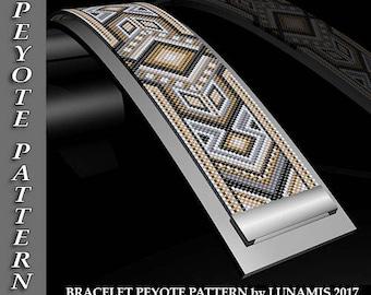 bracelet peyote pattern, bracelet design, odd count, peyote stitch, stitch pattern, pdf, digital file, #057P