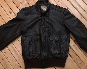 LL Bean Bomber Jacket Leather Flight Jacket