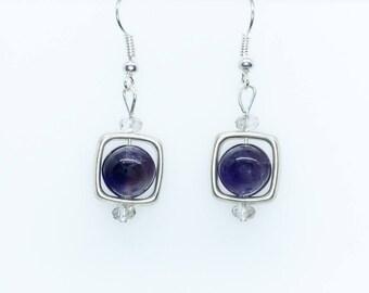 Purple and Silver Window Earrings