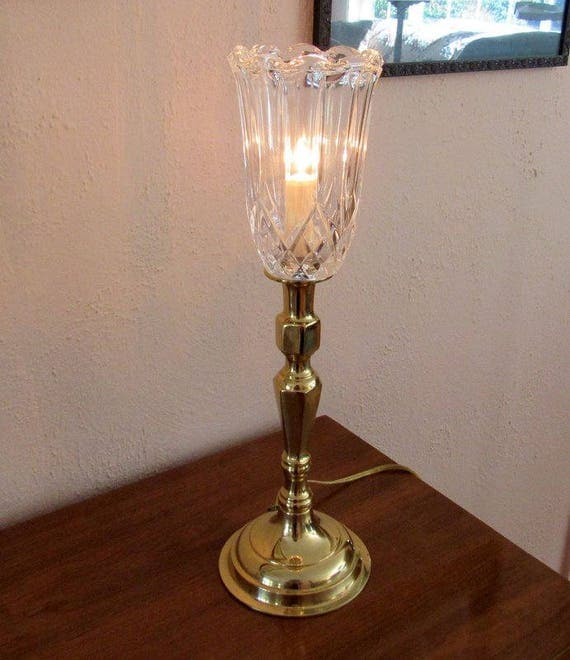 Tall Decorator Table Lamp Brass and Glass