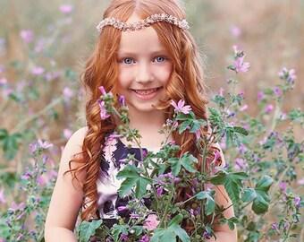 Flower girl wreath, Flower girl gift, Flower girl headpiece, Kids halo, Childrens hair wreath, Kids hair piece, Toddler crystal circlet