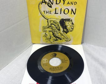 "HTF Andy And The Lion vinyl record 7"" 1966 Jim Timmens, Daniel Ocko, James Daughterty VG/VG+ Children Kids Story"