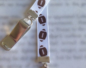 Football Bookmark / Football Player Bookmark / Cute Bookmark - Clip to book cover then mark page with ribbon. Never lose your bookmark!