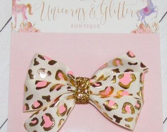 Leopard Print Hair Bow, Cheetah Hair Bow, Pink and Gold Hair Bow, Baby Hair Bow, Toddler Hair Bow, Animal Kingdom Hair Bow, Safari Hair Bow