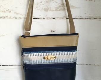 Navy/Tan Triple Zipper Crossbody Bag