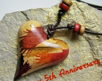 5th Anniversary, Wood Heart Necklace, Valentine Heart, One Of A Kind