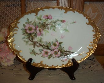 Antique GDA France Oblong Serving Platter Pink Roses w Thorns Satin Gold Gilt Border Gorgeous Hand~Painted Display Cabinet Plate Collectible