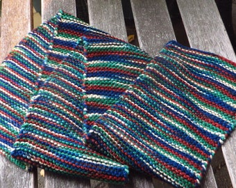 Small Knitted Scarf, Multicolored Brown Green Scarf, Hand Knit, Clearance Sale