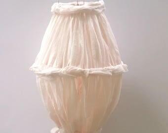 Boho Fabric Mobile- Hanging Fabric Chandelier - Nursery Decor - Baby Decor - Outdoor Decor - Event Decor - Strawberry Dye - Boho Home