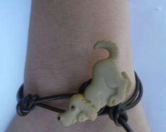 Simplistic leather knotted puppy bracelet