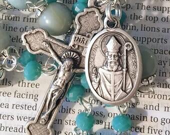 Saint Kevin Rosary Catholic Rosaries Silver Rosary Mary Rosary St Kevin Rosary Confirmation Gift Rosary Blue Rosary