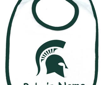 Michigan State Spartans Personalized Baby Bib