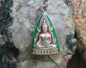 Green and Red on Silver Buddha Pendant from Thailand - White Brass with Enamel - 1 3/8 Inches