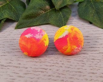 Sunset Hand Painted Fabric Covered Button Stud Earrings - Hypo-Allergenic Surgical Steel