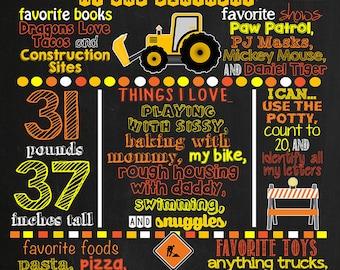 Construction Trucks Birthday Chalkboard Poster DIGITAL FILE