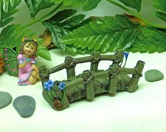 MINIATURE LOG BRIDGE Fairy Bridge Foot Bridge Fairy Kit Fairy Accessory Inside or Outdoor Bridge Pink Cobblestone
