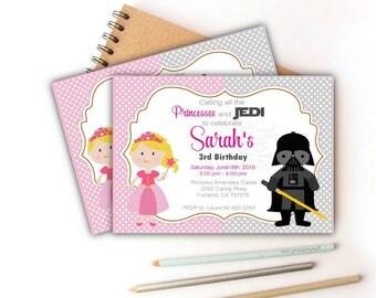 Printable Princess and Star Wars Invitation, twins invitation, Printable Birthday Invite, Custom Event Invite -D659 HBSW1