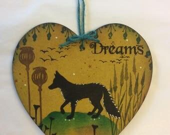 Woodland fox MDF heart
