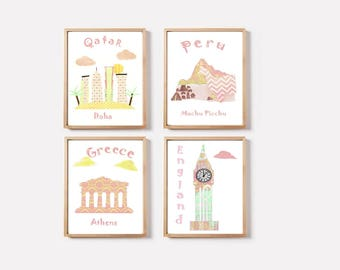 10,Nursery baby girl art print,travel nursery,pink,yellow,mint,Qatar,Peru,Greece,England